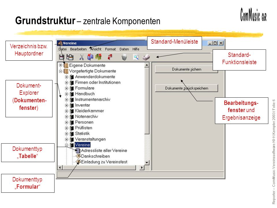 Reporter – ComMusic-Vereinssoftware / © H.Kempter 2003 / Folie 17 Datenbank-Grundlagen