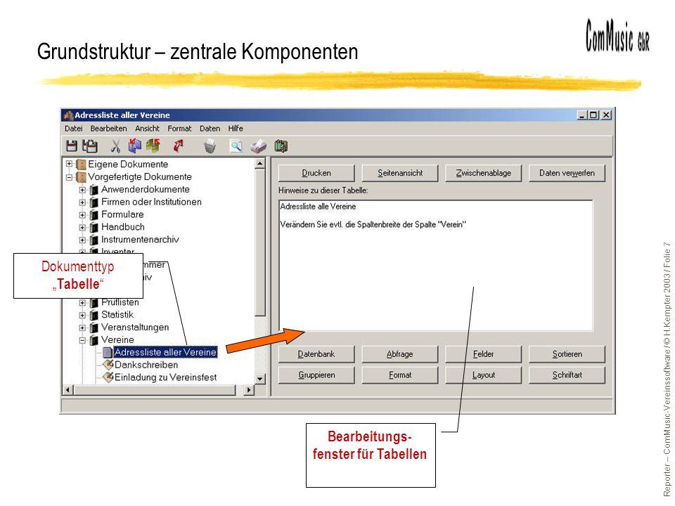Reporter – ComMusic-Vereinssoftware / © H.Kempter 2003 / Folie 7 Grundstruktur – zentrale Komponenten Bearbeitungs- fenster für Tabellen Dokumenttyp Tabelle
