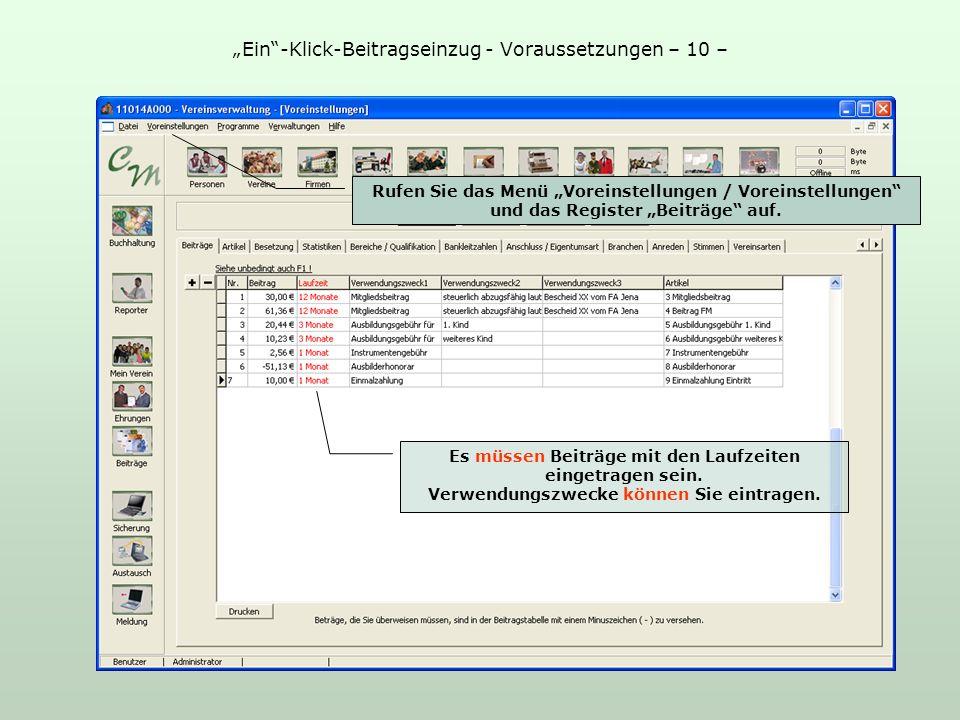 Ein-Klick-Beitragseinzug - Voraussetzungen – 10 – Rufen Sie das Menü Voreinstellungen / Voreinstellungen und das Register Beiträge auf.
