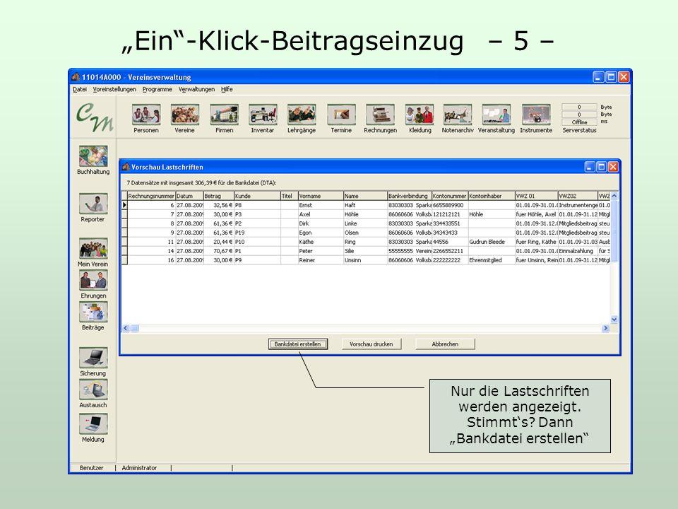 Ein-Klick-Beitragseinzug – 5 – Nur die Lastschriften werden angezeigt.
