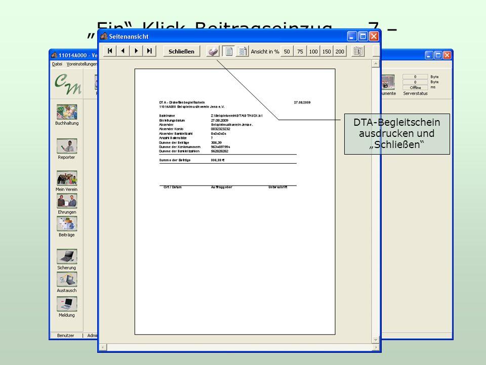 Ein-Klick-Beitragseinzug – 7 – DTA-Begleitschein ausdrucken und Schließen