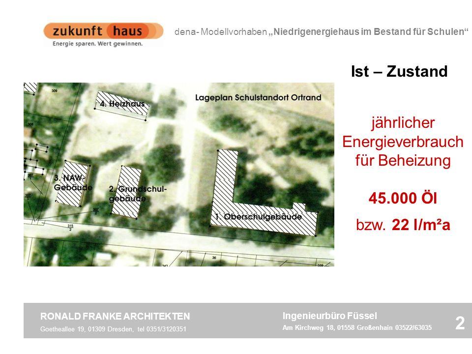 Goetheallee 19, 01309 Dresden, tel 0351/3120351 RONALD FRANKE ARCHITEKTEN 2 dena- Modellvorhaben Niedrigenergiehaus im Bestand für Schulen Schule Ortr