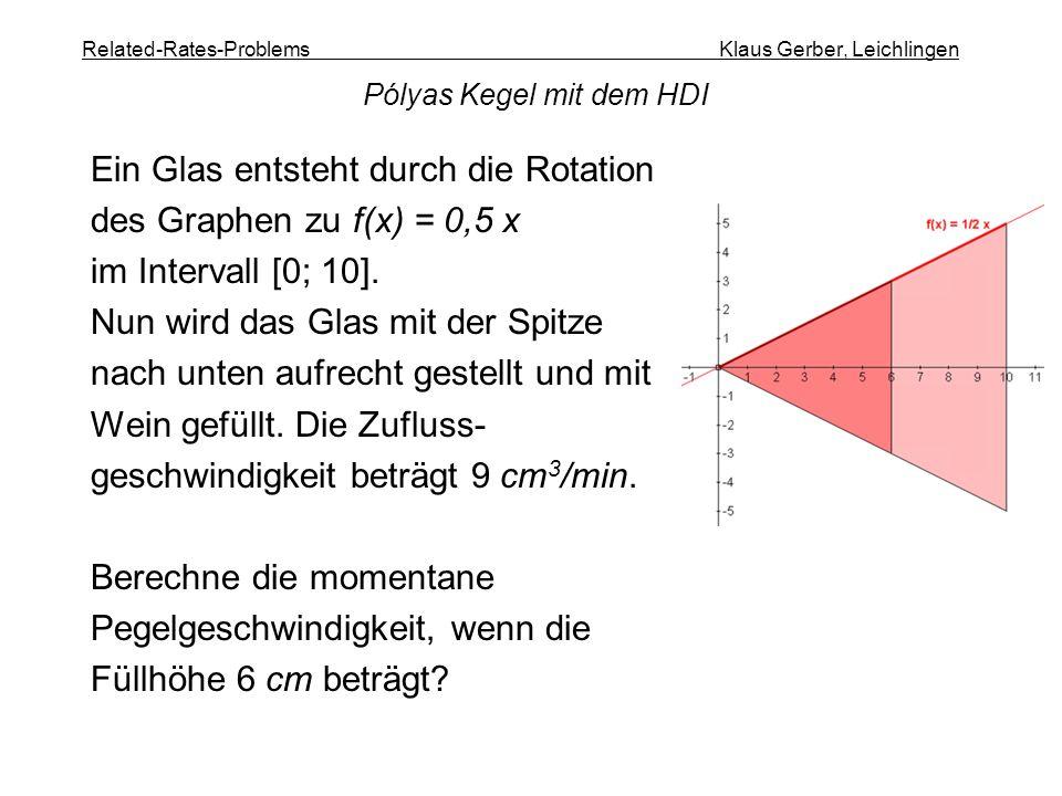 Related-Rates-Problems Klaus Gerber, Leichlingen Ein Glas entsteht durch die Rotation des Graphen zu f(x) = 0,5 x im Intervall [0; 10]. Nun wird das G