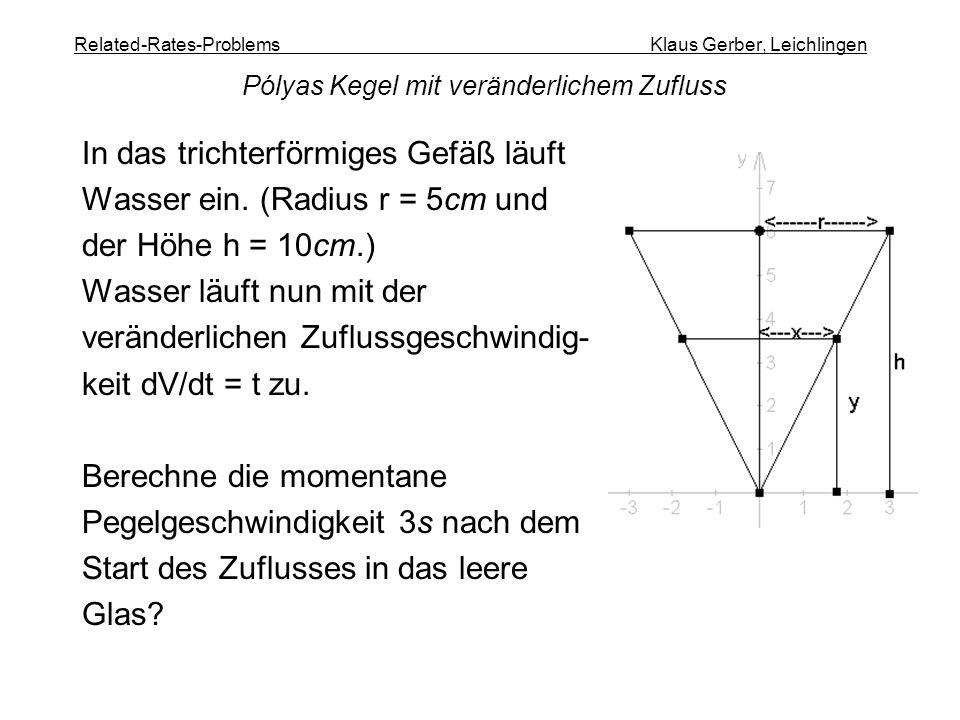 Related-Rates-Problems Klaus Gerber, Leichlingen In das trichterförmiges Gefäß läuft Wasser ein. (Radius r = 5cm und der Höhe h = 10cm.) Wasser läuft