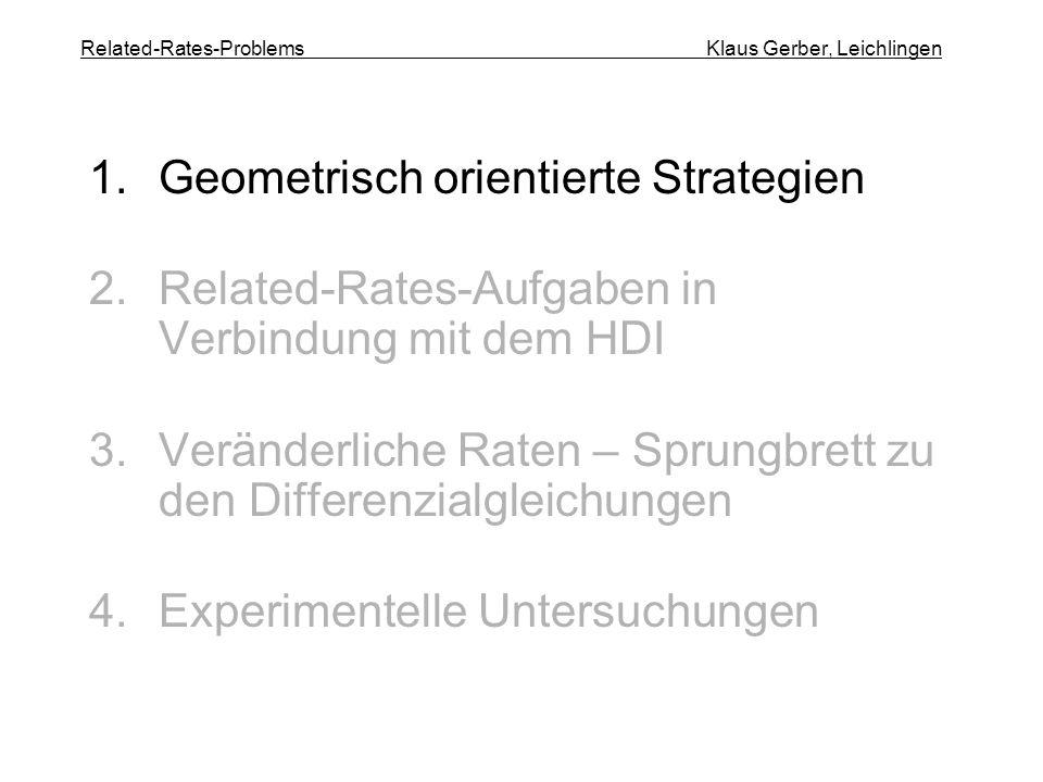 Related-Rates-Problems Klaus Gerber, Leichlingen 1.Geometrisch orientierte Strategien 2.Related-Rates-Aufgaben in Verbindung mit dem HDI 3.Veränderliche Raten – Sprungbrett zu den Differenzialgleichungen 4.Experimentelle Untersuchungen