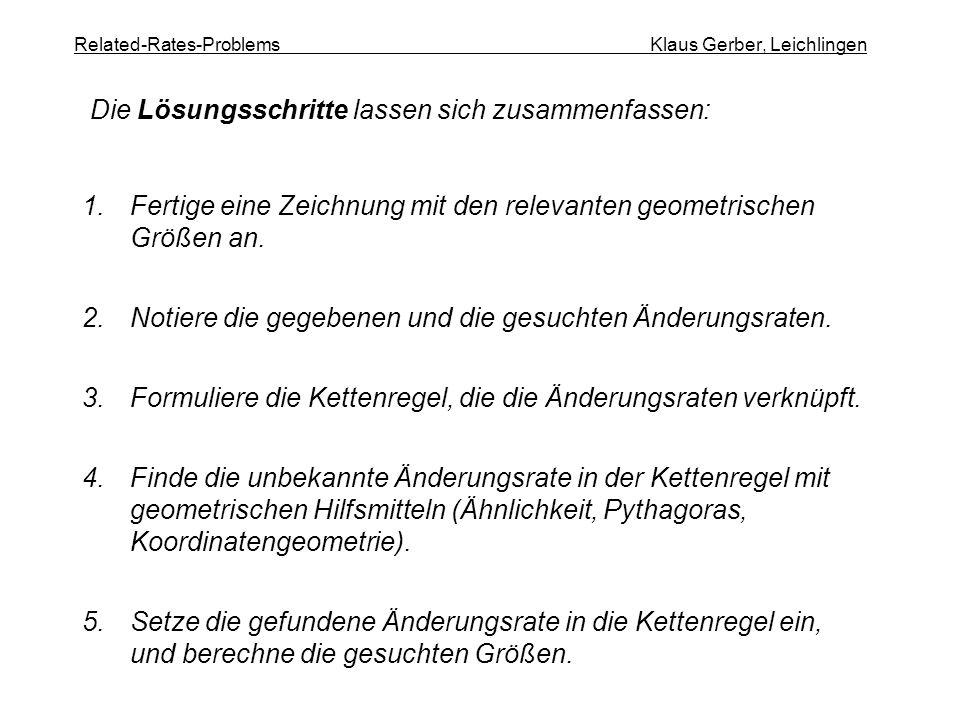 Related-Rates-Problems Klaus Gerber, Leichlingen 1.Fertige eine Zeichnung mit den relevanten geometrischen Größen an. 2.Notiere die gegebenen und die
