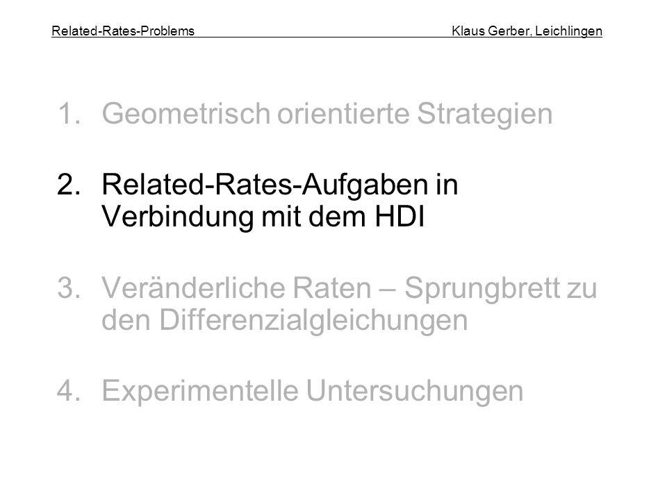 Related-Rates-Problems Klaus Gerber, Leichlingen 1.Geometrisch orientierte Strategien 2.Related-Rates-Aufgaben in Verbindung mit dem HDI 3.Veränderlic