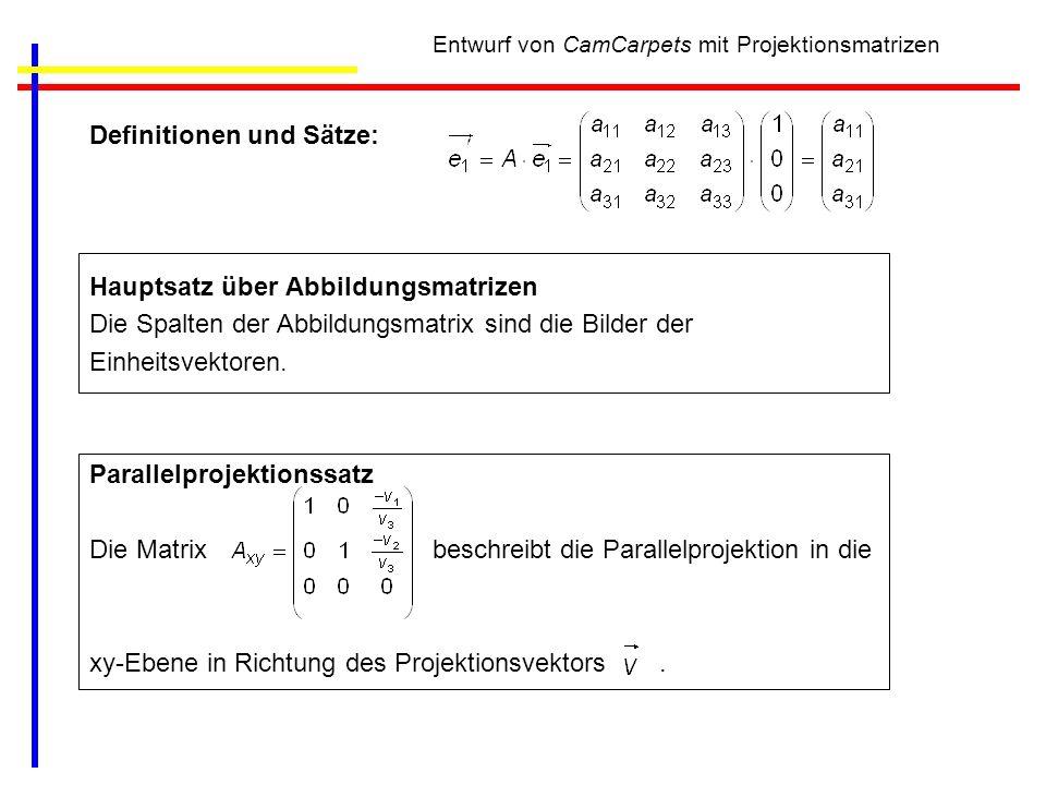 Entwurf von CamCarpets mit Projektionsmatrizen Definitionen und Sätze: Hauptsatz über Abbildungsmatrizen Die Spalten der Abbildungsmatrix sind die Bil