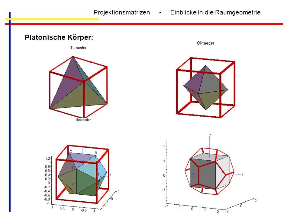 Projektionsmatrizen - Einblicke in die Raumgeometrie Platonische Körper: