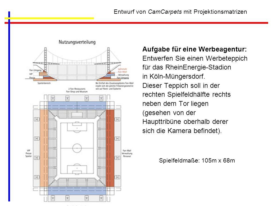 Entwurf von CamCarpets mit Projektionsmatrizen Aufgabe für eine Werbeagentur: Entwerfen Sie einen Werbeteppich für das RheinEnergie-Stadion in Köln-Mü