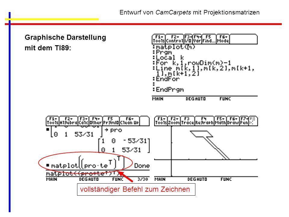 Entwurf von CamCarpets mit Projektionsmatrizen Graphische Darstellung mit dem TI89: vollständiger Befehl zum Zeichnen