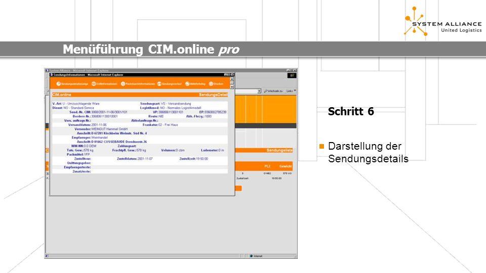 Menüführung CIM.online pro Schritt 6 Darstellung der Sendungsdetails