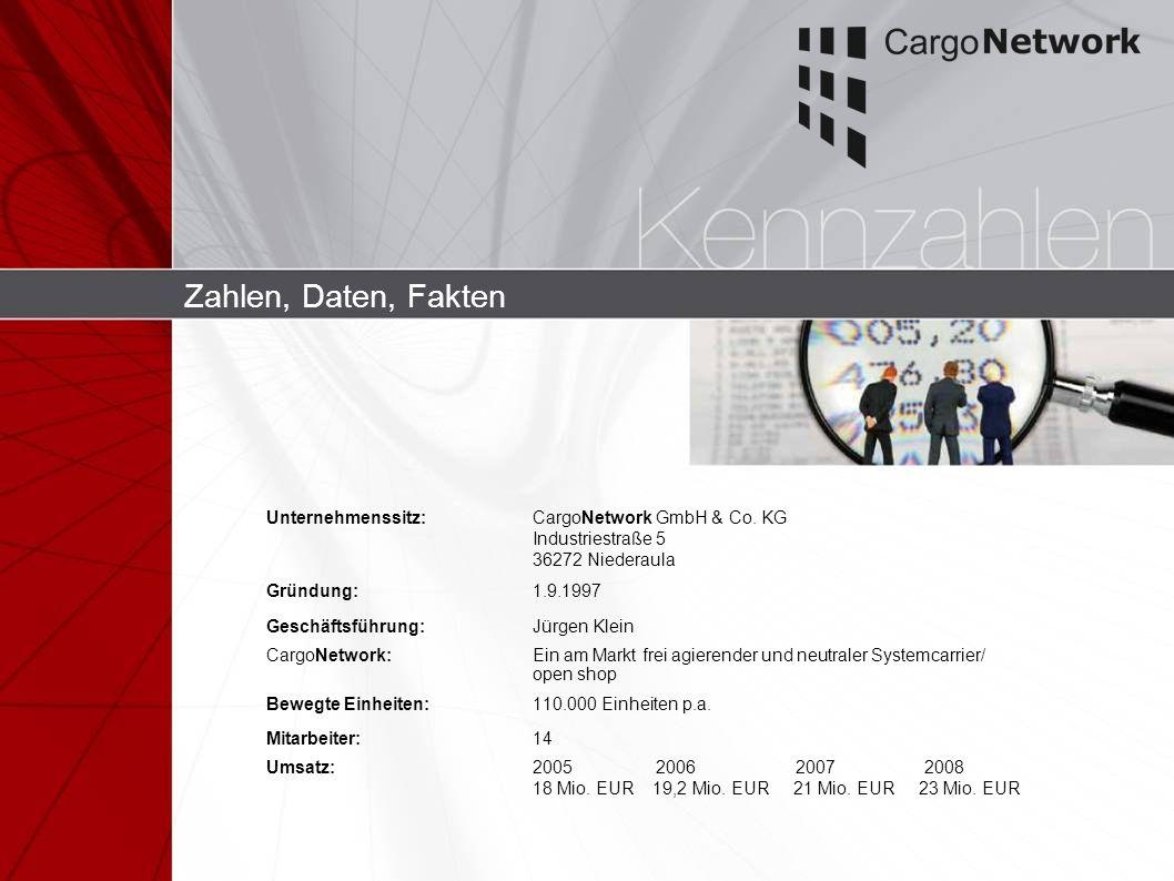 Zahlen, Daten, Fakten Unternehmenssitz:CargoNetwork GmbH & Co. KG Industriestraße 5 36272 Niederaula Gründung:1.9.1997 Geschäftsführung:Jürgen Klein C