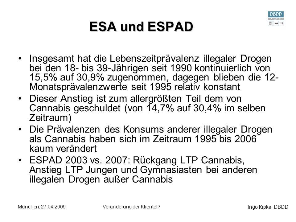 Ingo Kipke, DBDD München, 27.04.2009Veränderung der Klientel? ESA und ESPAD Insgesamt hat die Lebenszeitprävalenz illegaler Drogen bei den 18- bis 39-