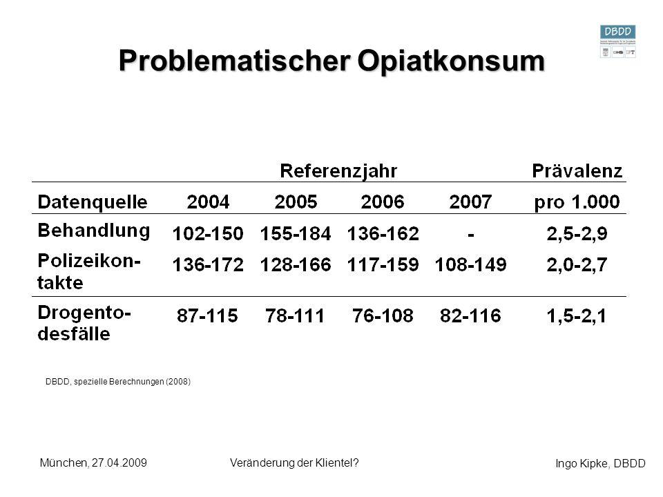 Ingo Kipke, DBDD München, 27.04.2009Veränderung der Klientel? Problematischer Opiatkonsum DBDD, spezielle Berechnungen (2008)