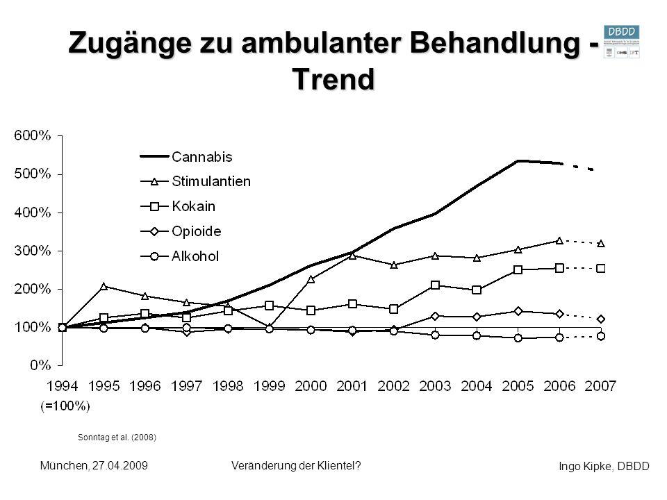 Ingo Kipke, DBDD München, 27.04.2009Veränderung der Klientel? Zugänge zu ambulanter Behandlung - Trend Sonntag et al. (2008)