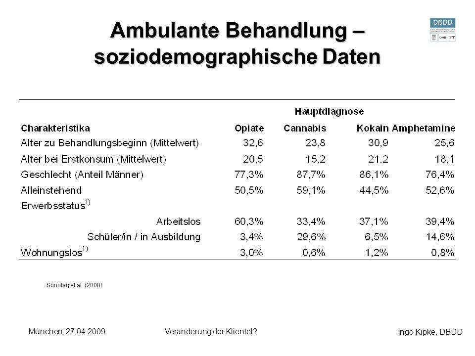 Ingo Kipke, DBDD München, 27.04.2009Veränderung der Klientel? Ambulante Behandlung – soziodemographische Daten Sonntag et al. (2008)