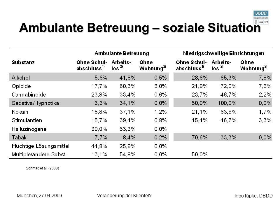 Ingo Kipke, DBDD München, 27.04.2009Veränderung der Klientel? Ambulante Betreuung – soziale Situation Sonntag et al. (2008)