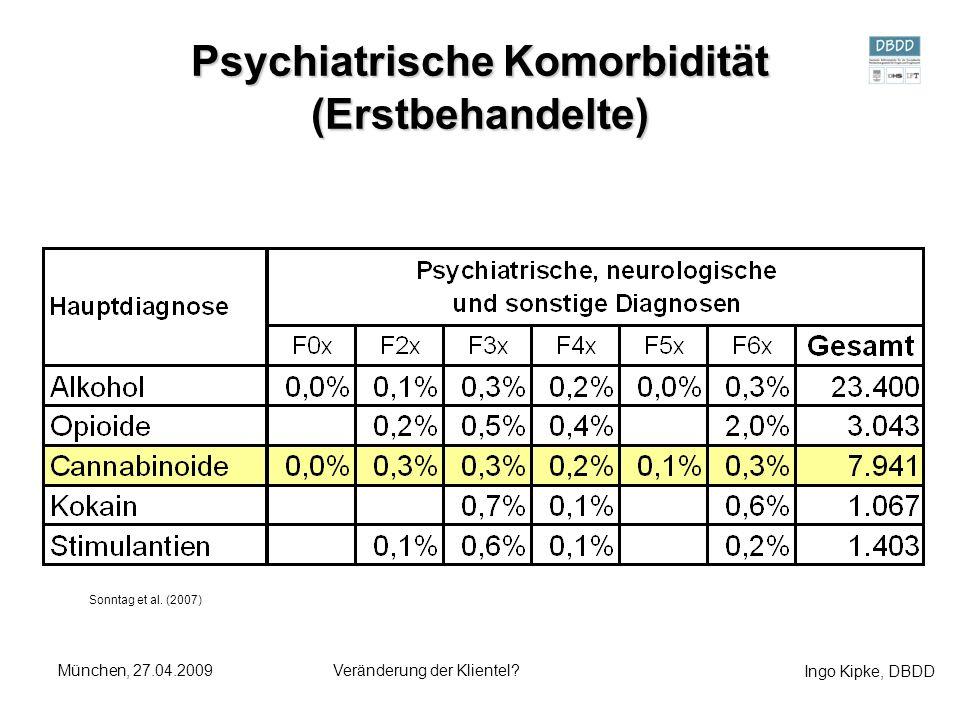 Ingo Kipke, DBDD München, 27.04.2009Veränderung der Klientel? Psychiatrische Komorbidität (Erstbehandelte) Sonntag et al. (2007)