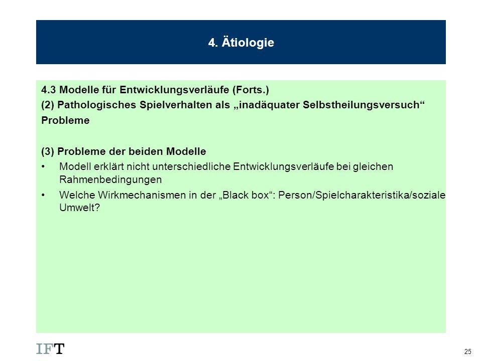 25 4. Ätiologie 4.3 Modelle für Entwicklungsverläufe (Forts.) (2) Pathologisches Spielverhalten als inadäquater Selbstheilungsversuch Probleme (3) Pro