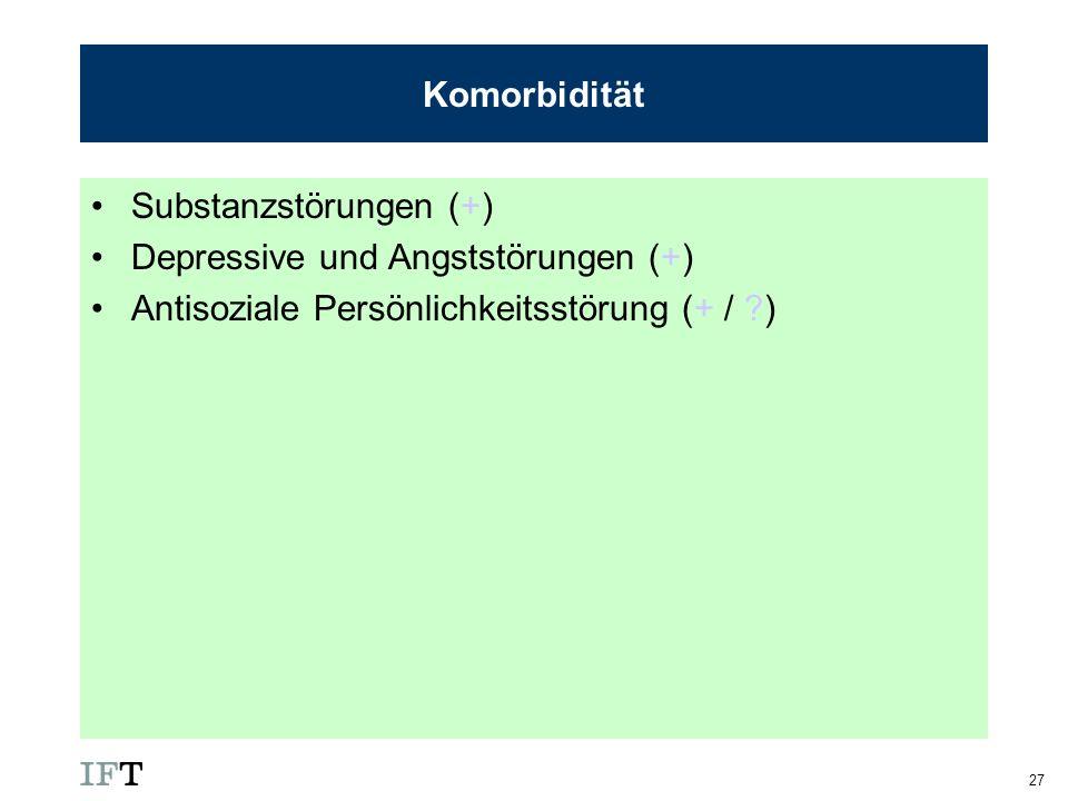 27 Komorbidität Substanzstörungen (+) Depressive und Angststörungen (+) Antisoziale Persönlichkeitsstörung (+ / ?)