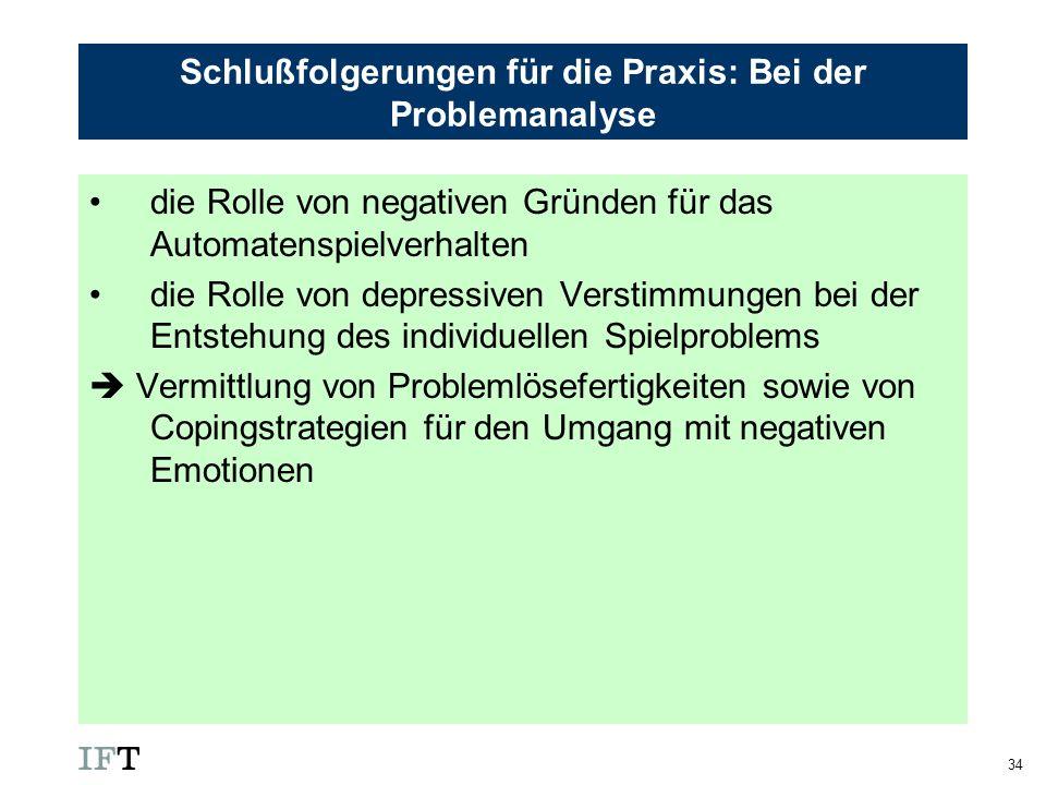34 Schlußfolgerungen für die Praxis: Bei der Problemanalyse die Rolle von negativen Gründen für das Automatenspielverhalten die Rolle von depressiven
