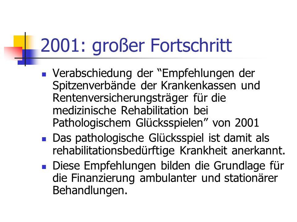 2001: großer Fortschritt Verabschiedung der Empfehlungen der Spitzenverbände der Krankenkassen und Rentenversicherungsträger für die medizinische Reha