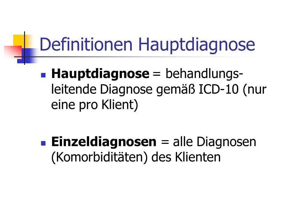 Definitionen Hauptdiagnose Hauptdiagnose = behandlungs- leitende Diagnose gemäß ICD-10 (nur eine pro Klient) Einzeldiagnosen = alle Diagnosen (Komorbi