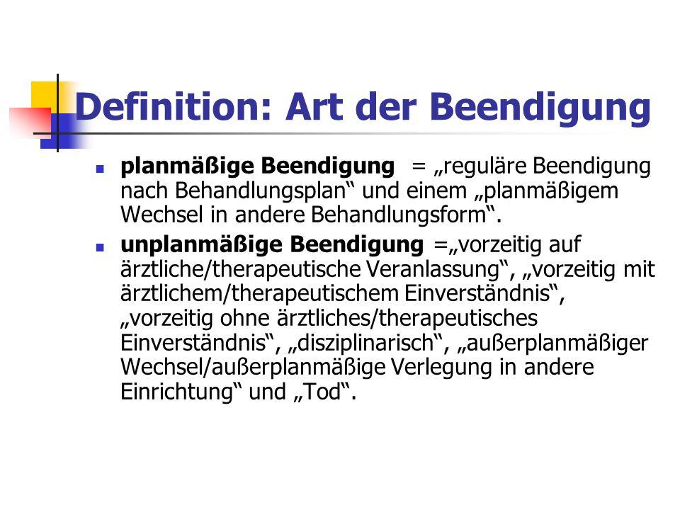 Definition: Art der Beendigung planmäßige Beendigung = reguläre Beendigung nach Behandlungsplan und einem planmäßigem Wechsel in andere Behandlungsfor