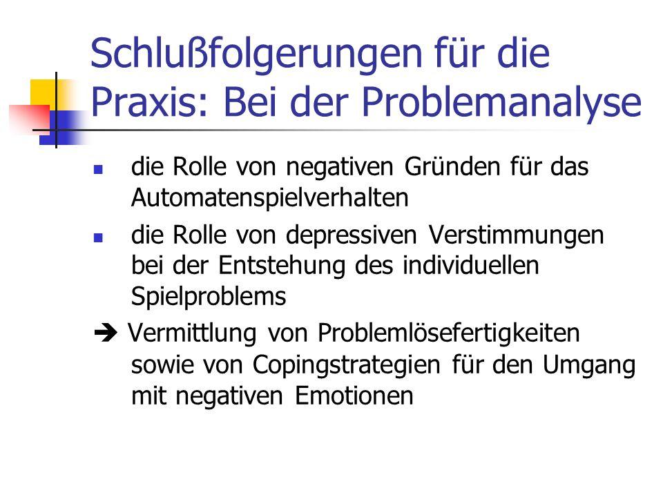 Schlußfolgerungen für die Praxis: Bei der Problemanalyse die Rolle von negativen Gründen für das Automatenspielverhalten die Rolle von depressiven Ver