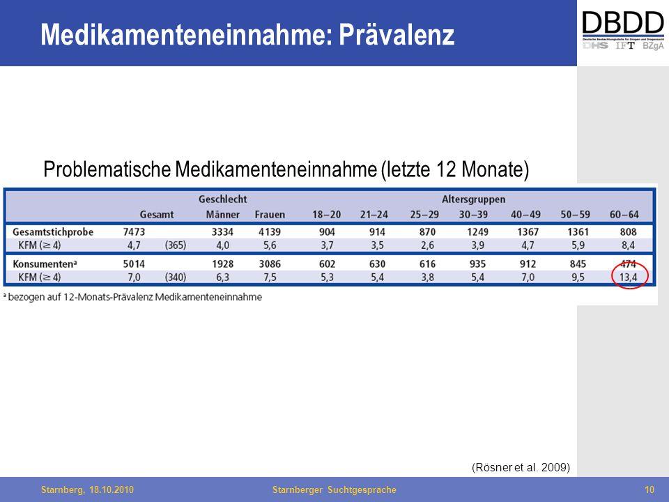 Bielefeld, 29.04.2010Fachtag Qualität des LWL10Starnberg, 18.10.2010Starnberger Suchtgespräche10 Medikamenteneinnahme: Prävalenz Problematische Medika