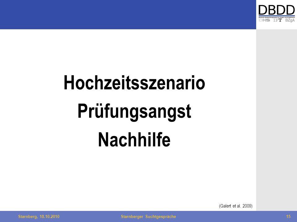 Bielefeld, 29.04.2010Fachtag Qualität des LWL15Starnberg, 18.10.2010Starnberger Suchtgespräche15 Hochzeitsszenario Prüfungsangst Nachhilfe (Galert et