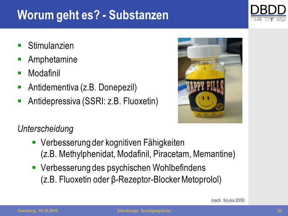 Bielefeld, 29.04.2010Fachtag Qualität des LWL20Starnberg, 18.10.2010Starnberger Suchtgespräche20 Worum geht es? - Substanzen Stimulanzien Amphetamine