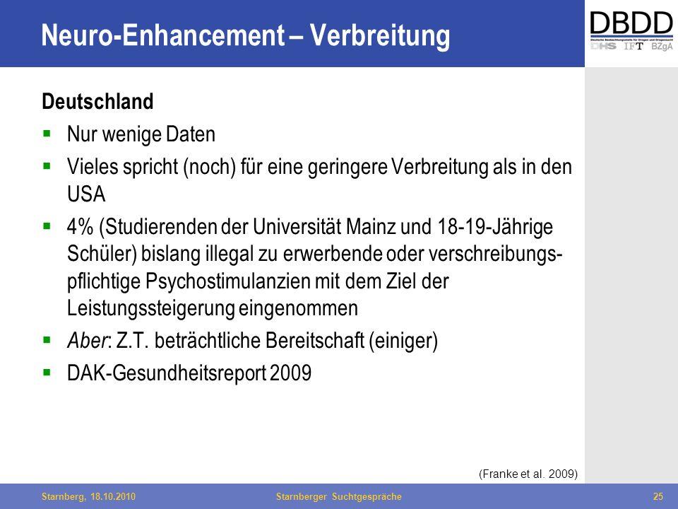 Bielefeld, 29.04.2010Fachtag Qualität des LWL25Starnberg, 18.10.2010Starnberger Suchtgespräche25 Neuro-Enhancement – Verbreitung Deutschland Nur wenig