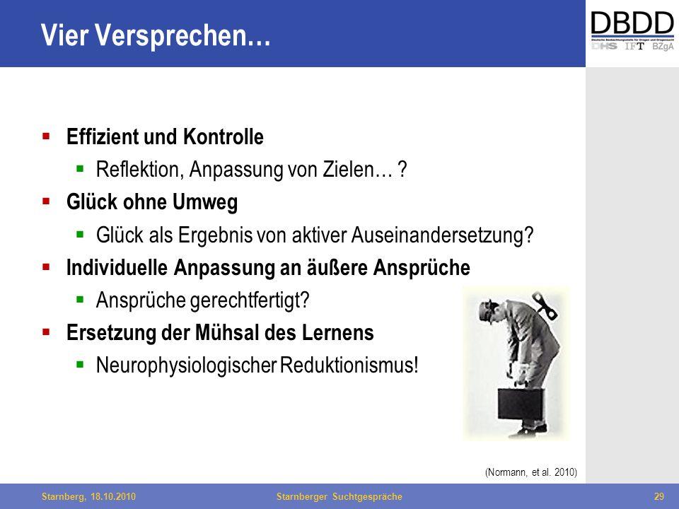 Bielefeld, 29.04.2010Fachtag Qualität des LWL29Starnberg, 18.10.2010Starnberger Suchtgespräche29 Vier Versprechen… Effizient und Kontrolle Reflektion,