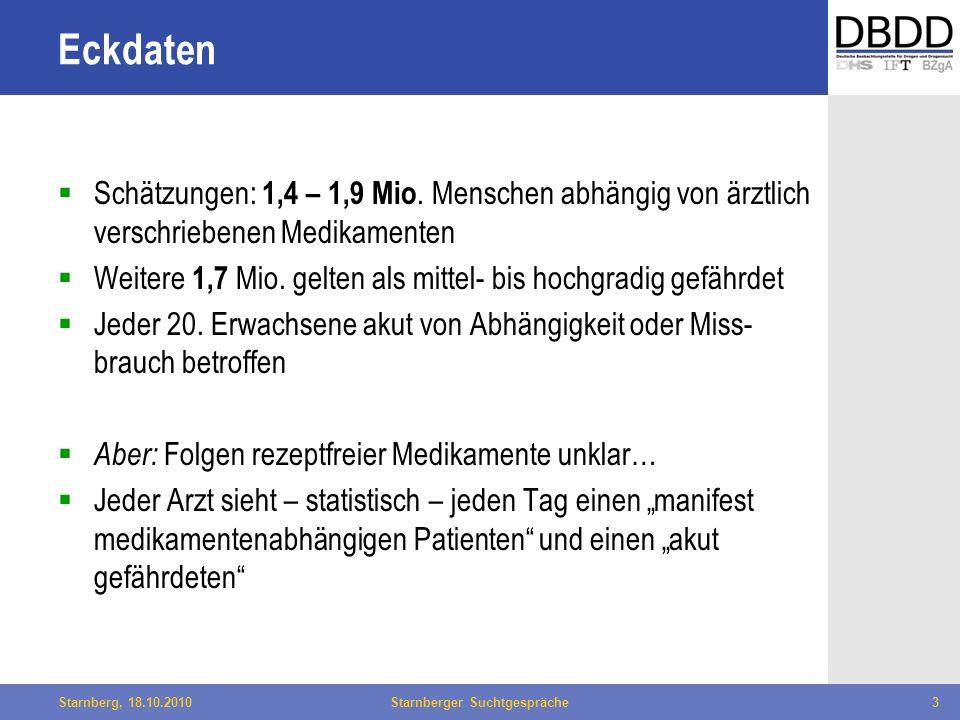 Bielefeld, 29.04.2010Fachtag Qualität des LWL3Starnberg, 18.10.2010Starnberger Suchtgespräche3 Eckdaten Schätzungen: 1,4 – 1,9 Mio. Menschen abhängig