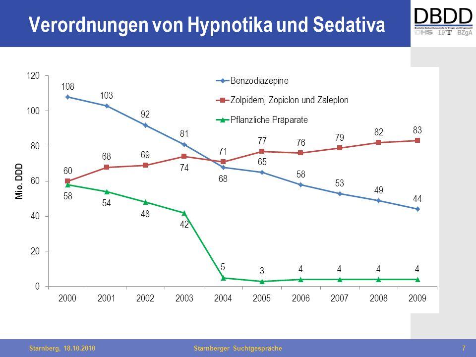 Bielefeld, 29.04.2010Fachtag Qualität des LWL7Starnberg, 18.10.2010Starnberger Suchtgespräche7 Verordnungen von Hypnotika und Sedativa