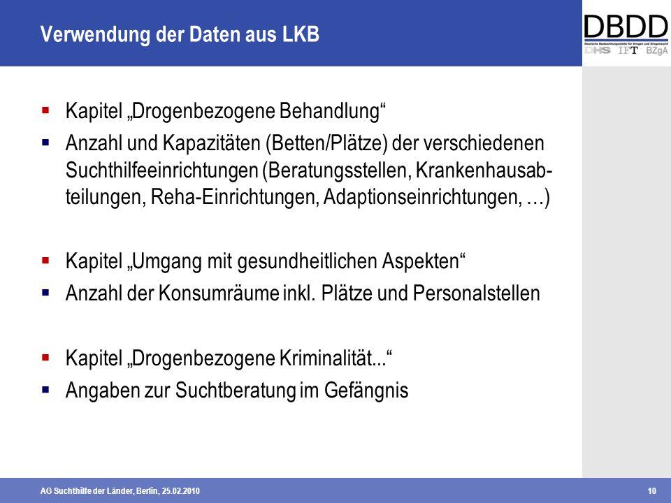 AG Suchthilfe der Länder, Berlin, 25.02.201010 Verwendung der Daten aus LKB Kapitel Drogenbezogene Behandlung Anzahl und Kapazitäten (Betten/Plätze) d