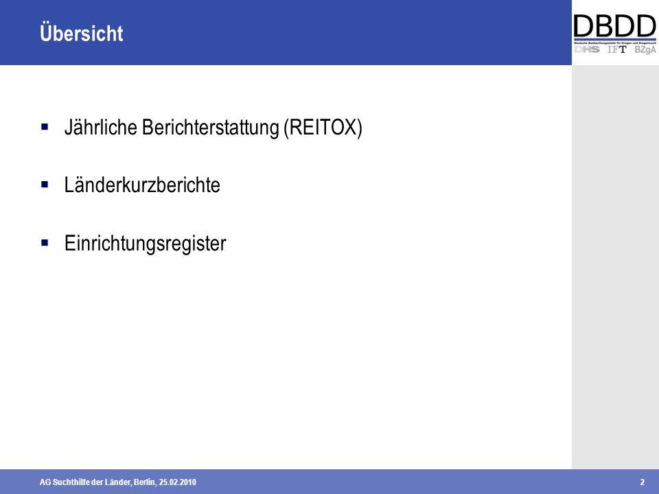 AG Suchthilfe der Länder, Berlin, 25.02.20102 Übersicht Jährliche Berichterstattung (REITOX) Länderkurzberichte Einrichtungsregister