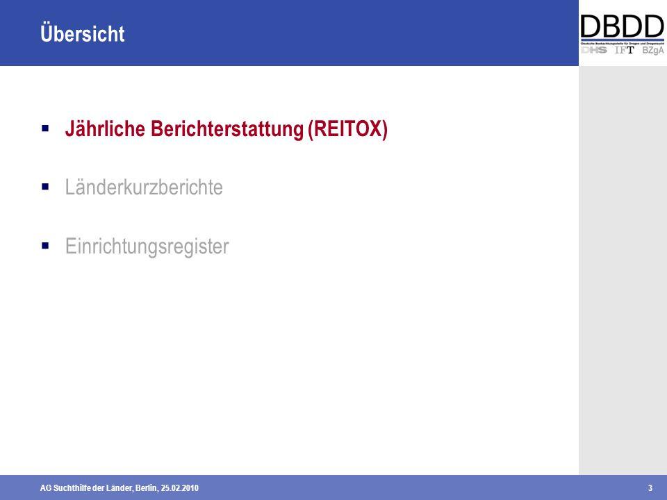 AG Suchthilfe der Länder, Berlin, 25.02.20103 Übersicht Jährliche Berichterstattung (REITOX) Länderkurzberichte Einrichtungsregister