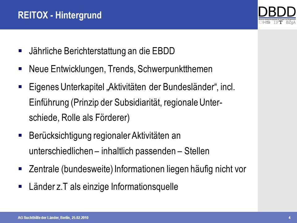 AG Suchthilfe der Länder, Berlin, 25.02.20104 REITOX - Hintergrund Jährliche Berichterstattung an die EBDD Neue Entwicklungen, Trends, Schwerpunktthem
