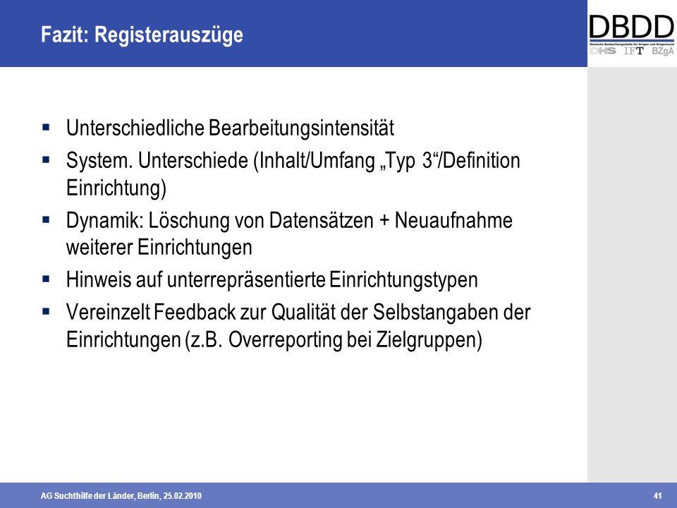 AG Suchthilfe der Länder, Berlin, 25.02.201041 Fazit: Registerauszüge Unterschiedliche Bearbeitungsintensität System. Unterschiede (Inhalt/Umfang Typ