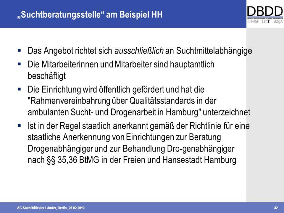 AG Suchthilfe der Länder, Berlin, 25.02.201042 Suchtberatungsstelle am Beispiel HH Das Angebot richtet sich ausschließlich an Suchtmittelabhängige Die