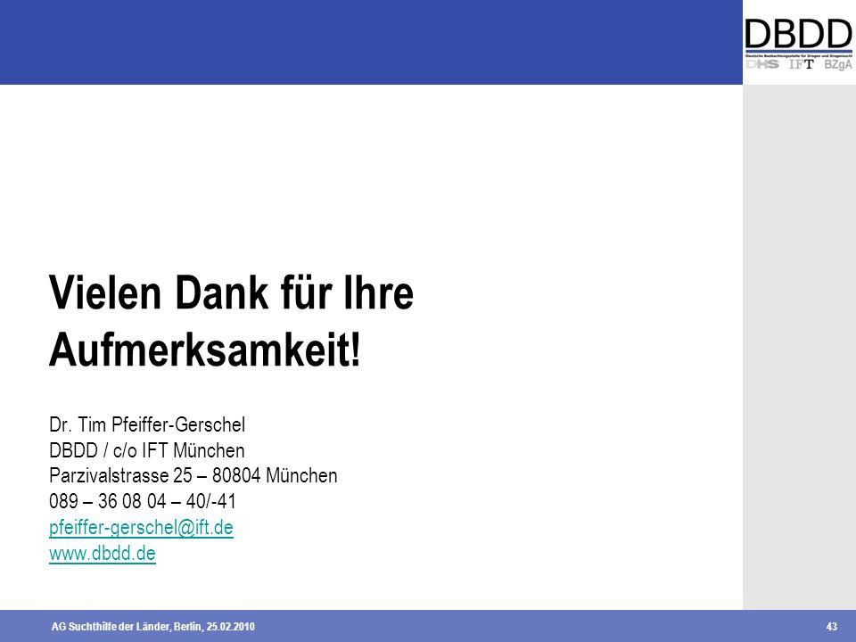 AG Suchthilfe der Länder, Berlin, 25.02.201043 Vielen Dank für Ihre Aufmerksamkeit! Dr. Tim Pfeiffer-Gerschel DBDD / c/o IFT München Parzivalstrasse 2