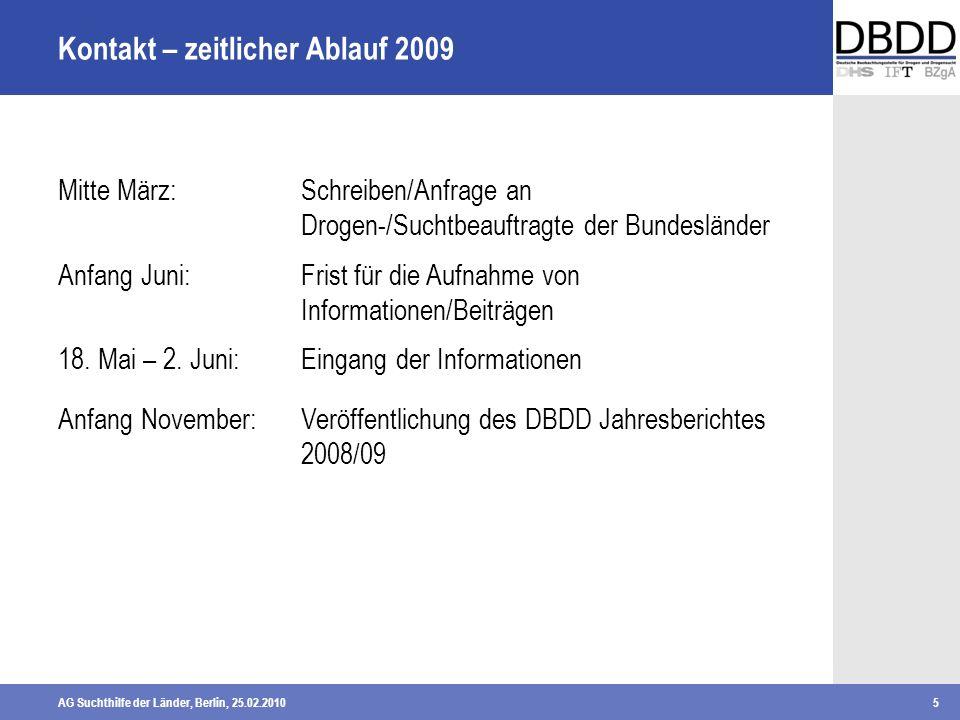 AG Suchthilfe der Länder, Berlin, 25.02.20105 Mitte März:Schreiben/Anfrage an Drogen-/Suchtbeauftragte der Bundesländer Anfang Juni:Frist für die Aufn
