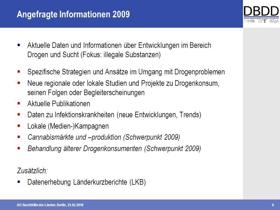 AG Suchthilfe der Länder, Berlin, 25.02.20106 Angefragte Informationen 2009 Aktuelle Daten und Informationen über Entwicklungen im Bereich Drogen und