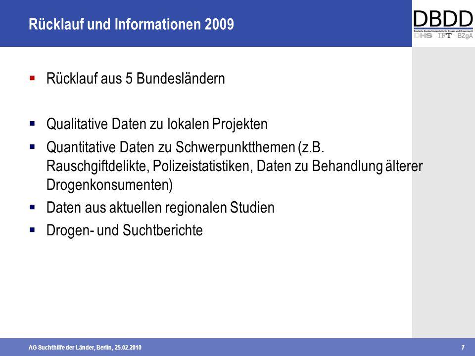AG Suchthilfe der Länder, Berlin, 25.02.20107 Rücklauf und Informationen 2009 Rücklauf aus 5 Bundesländern Qualitative Daten zu lokalen Projekten Quan