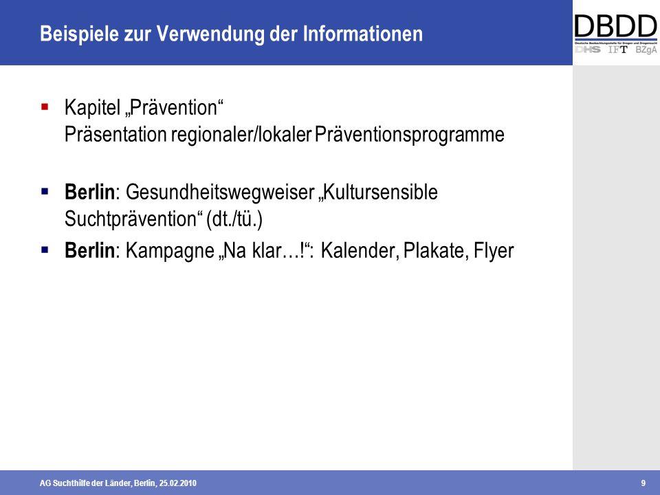 AG Suchthilfe der Länder, Berlin, 25.02.20109 Beispiele zur Verwendung der Informationen Kapitel Prävention Präsentation regionaler/lokaler Prävention