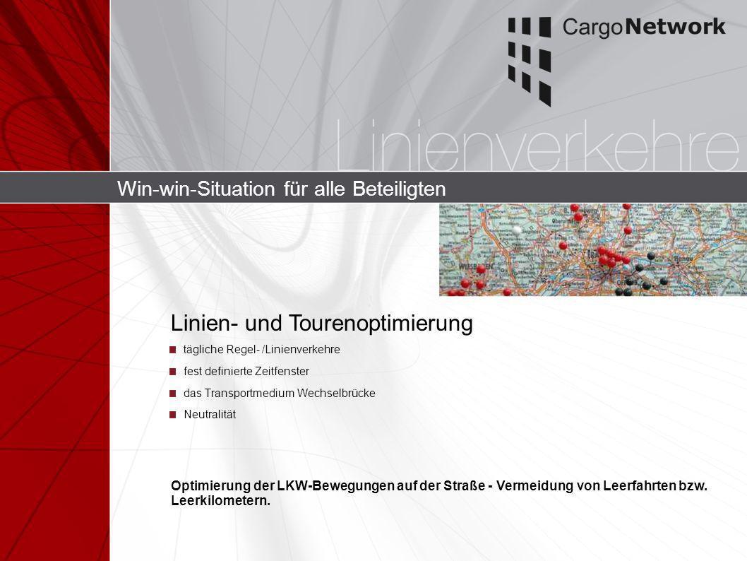 Win-win-Situation für alle Beteiligten tägliche Regel- /Linienverkehre fest definierte Zeitfenster das Transportmedium Wechselbrücke Neutralität Linie