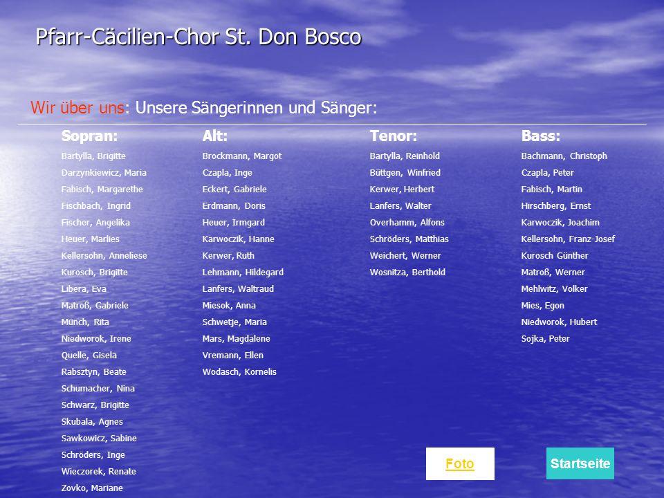 Wir über uns: Unsere Sängerinnen und Sänger: Sopran: Bartylla, Brigitte Darzynkiewicz, Maria Fabisch, Margarethe Fischbach, Ingrid Fischer, Angelika H